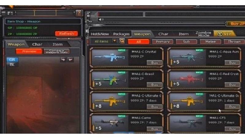 Rất nhiều vũ khí vip được đột kích offline trang bị cho các xạ thủ