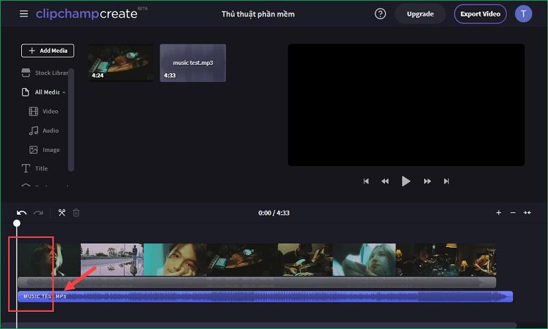 Ghép nhạc vào video trong phần mềm Clipchamp