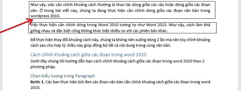 Khoảng cách giữa các đoạn trong Word 2010