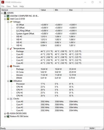 Phần mềm kiểm tra phần cứng CPUID HWMonitor