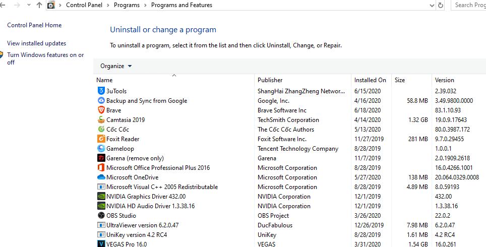 danh sách phần mềm đã cài trong máy tính