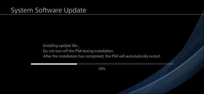 giao diện cập nhật phần mềm PS4