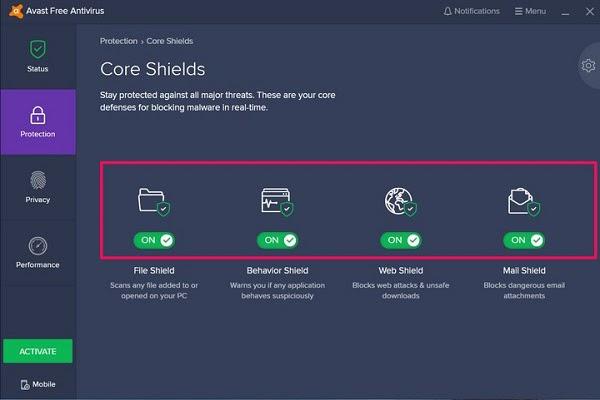 giao diện chức năng phần mềm avast free antivirus
