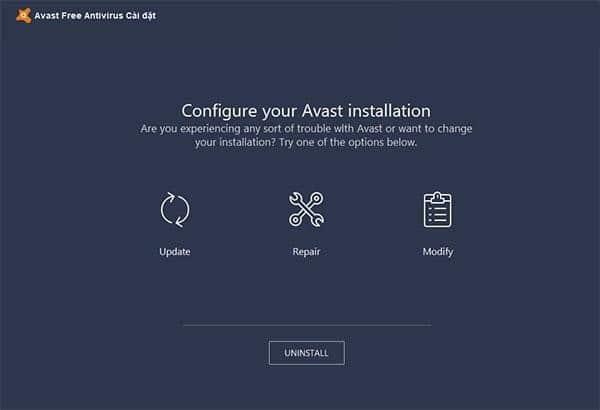 giao diện gỡ avast free antivirus