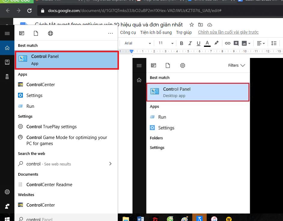 menu start - control panel