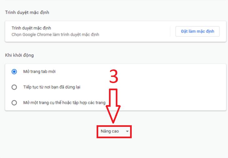 Bấm nâng cao - Tắt thông báo Google Chrome