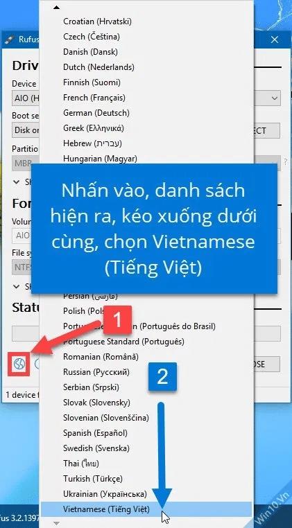 Bấm vào biểu tượng quả địa cầu, danh sách ngôn ngữ hiện ra, kéo xuống dưới cùng, chọn Tiếng Việt (Vietnamese)
