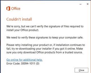 """Báo lỗi """"We're sorry,...Office product."""" (Signature Error) - Lỗi không cài được office 2016"""