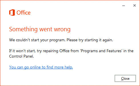 """Báo lỗi """"Something went wrong"""" - Lỗi không cài được office 2016"""