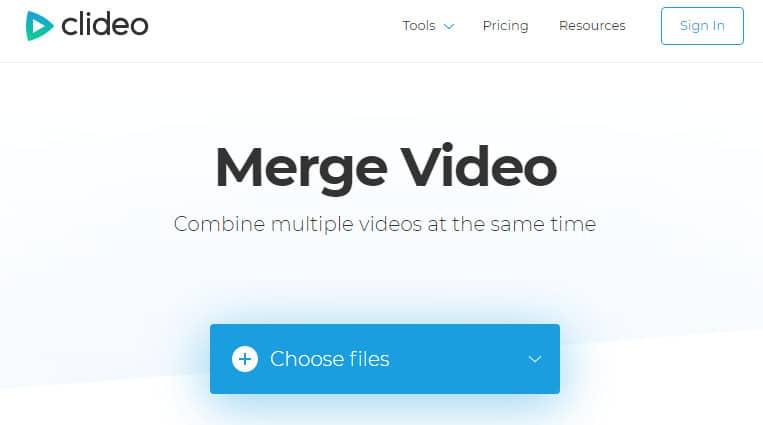 Chọn choose file để upload video cần ghép