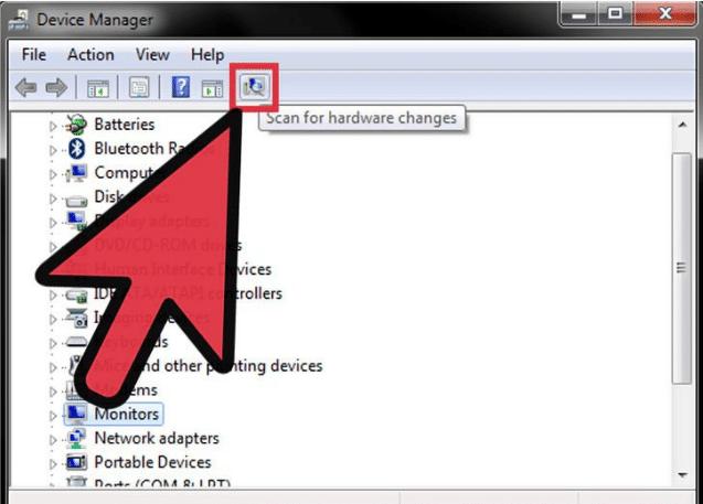 chọn Scan for hardware changes cập nhật các Driver còn thiếu