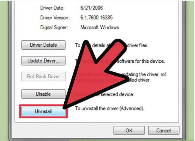 Delete the driver software for this device -> OK để hoàn tất