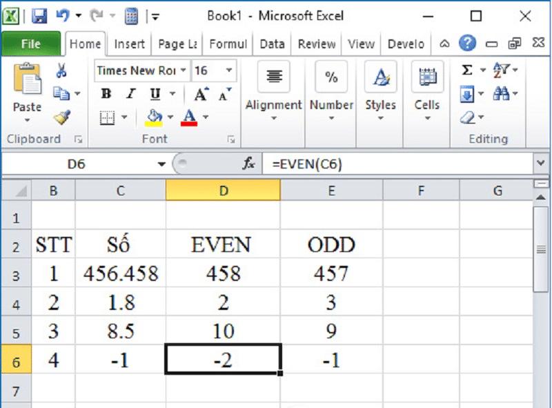 Hàm làm tròn trong Excel hàm EVEN, hàm ODD