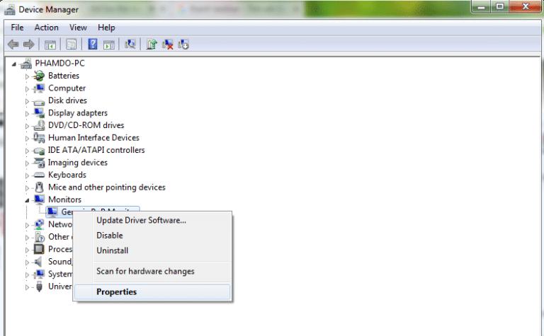 Nhấp chuột phải vào Generic PnP Monitor và chọn Properties