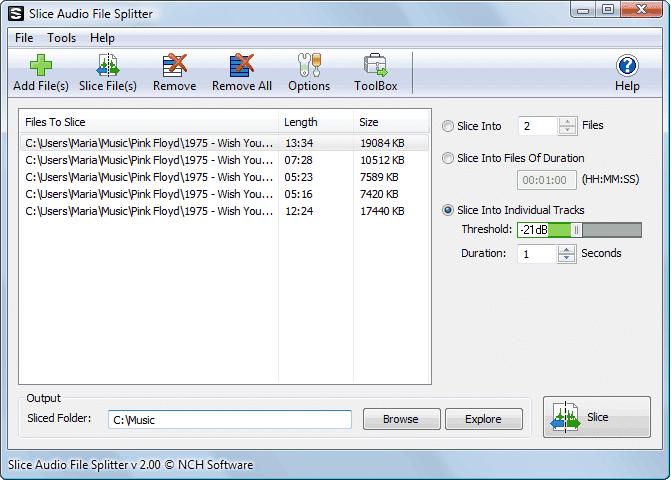 Phần mềm cắt ghép nhạc chuyên nghiệp Slice Audio File Splitter