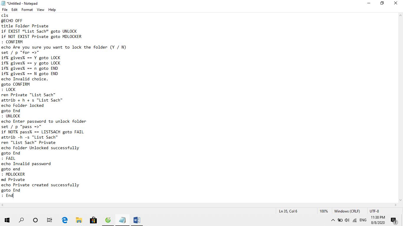 Thêm mã code vào Notepad