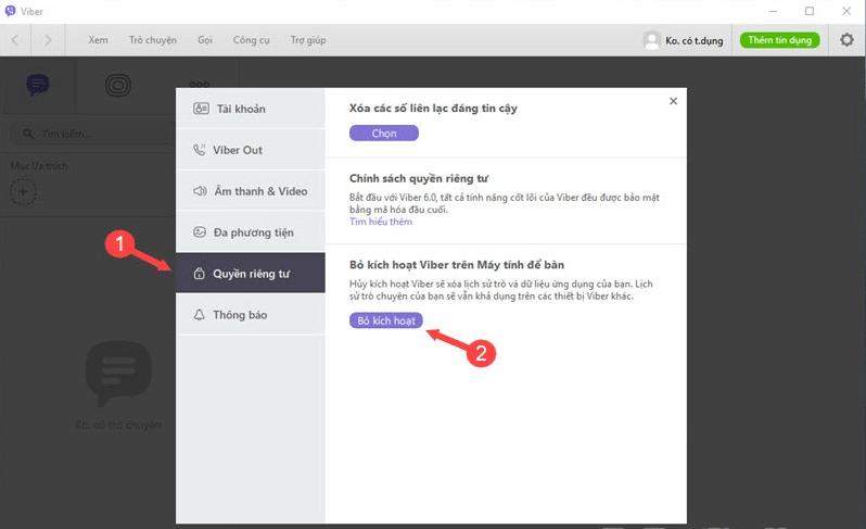 Trong cửa sổ Cài đặt Viber, chọn tab Tài khoản → Hủy kích hoạt Viber.