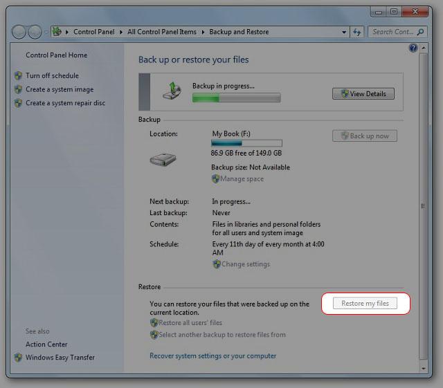 Browse for folders và chọn vào nơi lưu trữ file backup