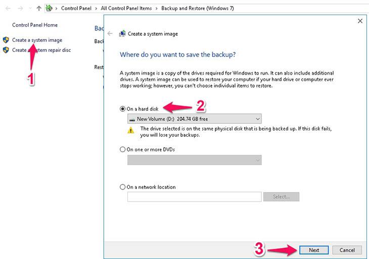 chọn Create a system image > On a hard disk > Chọn nơi lưu trữ file backup>next