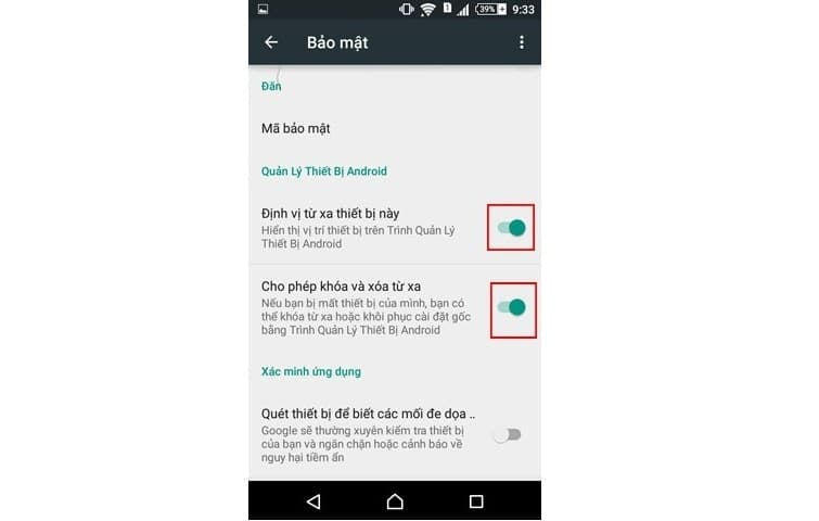 chọn mục Quản lý thiết bị Android