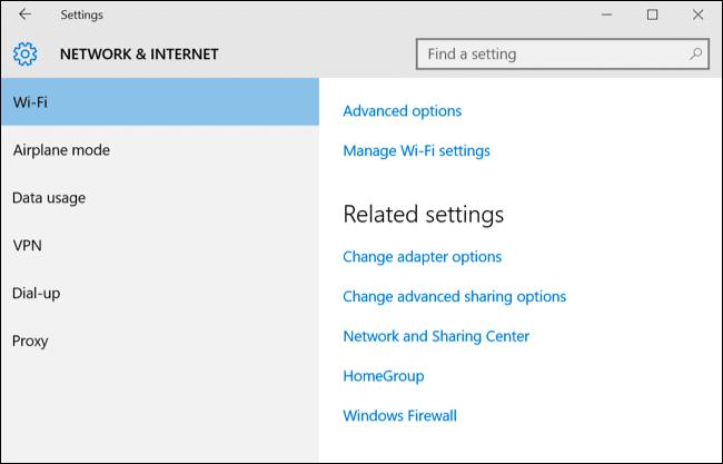 Chọn WI-FI trong giao diện settings