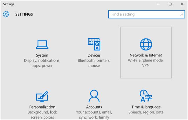 Mở chương trình settings