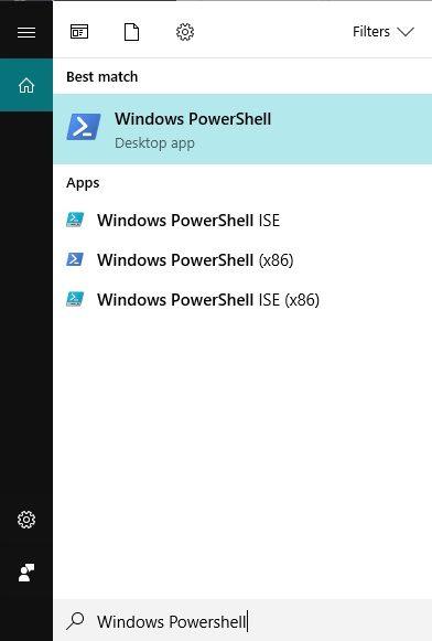 Mở hộp thoại Windows PowerShell