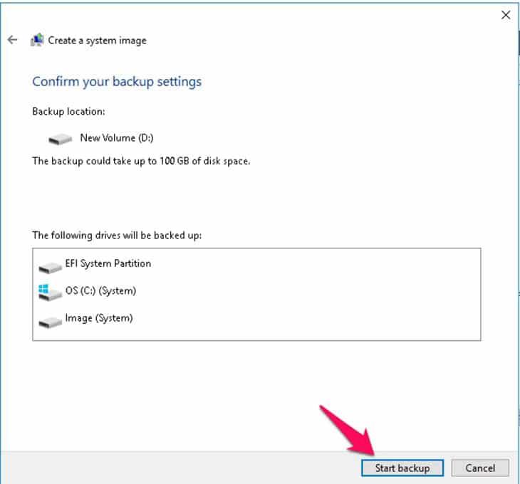 nhấn Start backup để thực hiện tạo file backup