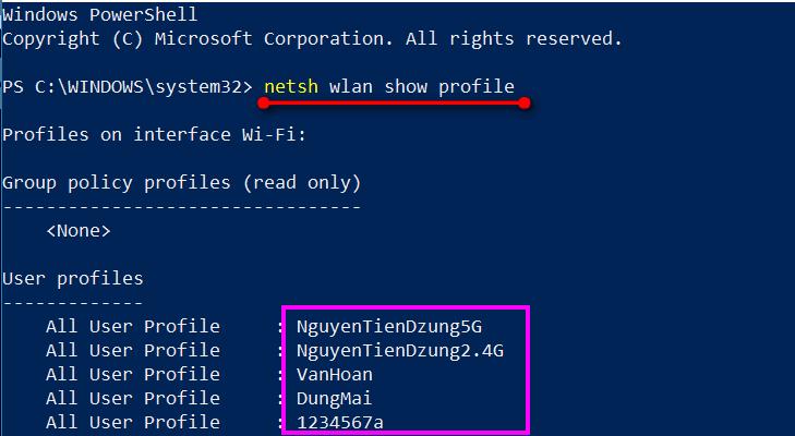 Nhập lệnh netsh wlan show profile