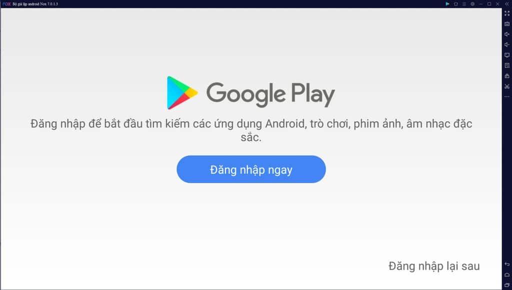 Nhấn Đăng nhập ngay, để có thể tải những ứng dụng trên CH Play